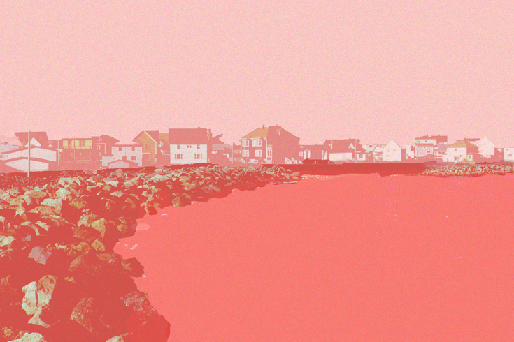 An image of the grand banks of Newfoundland, with a series of houses lining the perimeter of the banks. The photo is styled in red and pink hues, so the water appears a dark salmon colour and the houses and sky are paler shades of pink.