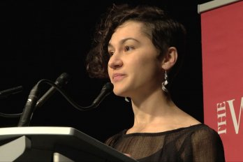 Video still of Jessica Bolduc from The Walrus Talks Aboriginal City
