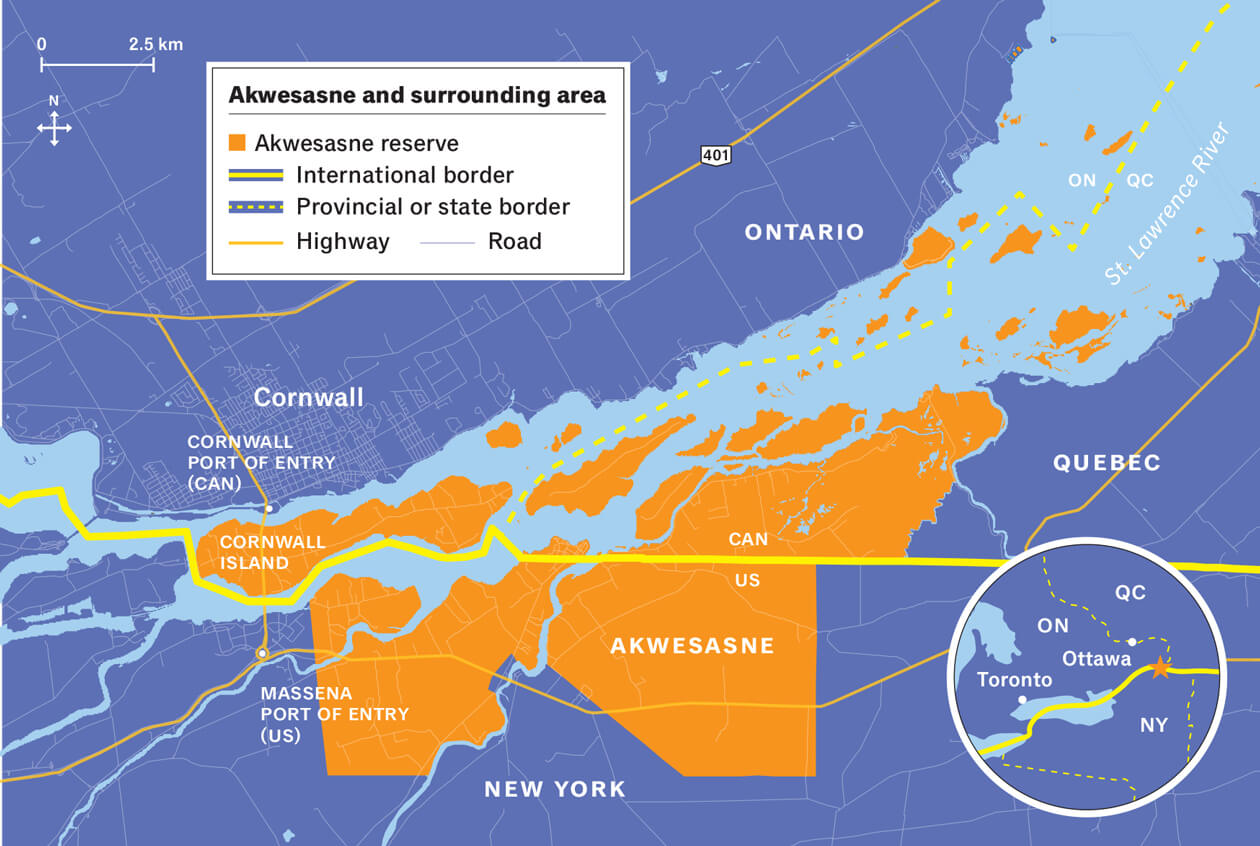 Map by Meredith Holigroski/Data from the Mohawk Council of Akwesasne