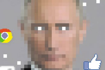 Pixelated portrait of Vladimir Putin with social media icons around him
