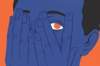 An illustration of a person peeking through their fingers. Their eyeball is the shape of the COVID-19 germ (a small round microbe with protrusions that look like the spokes of a crown).