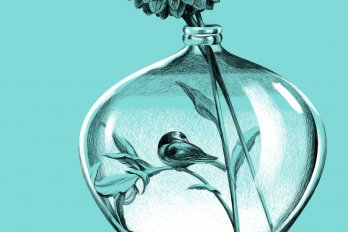 Illustration of a small bird, perched inside a glass vase on the stem of a flower. The background is a light turquoise blue.