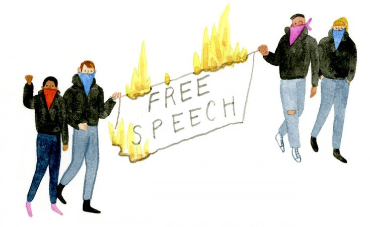 Students hold a protest banner on fire that reads free speech.