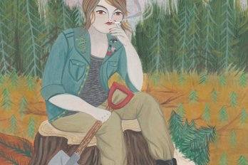 Illustration of a woman in khaki pants and a green jacket, sitting on a tree stump and smoking. In her other hand she holds a shovel. In the background is a forest of pine trees.