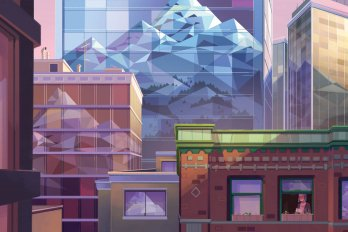 A mountain behind a group of apartment buildings, with a woman in the window.