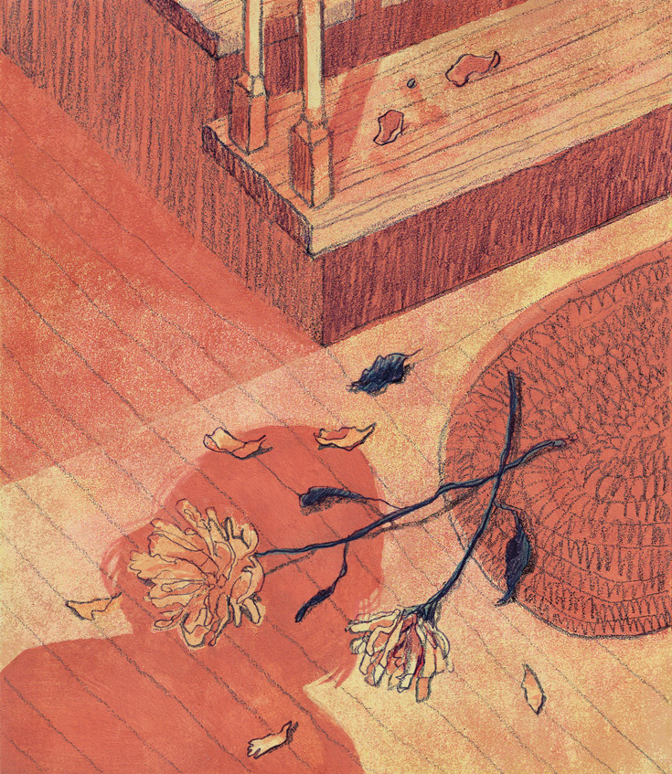 Illustration of two dried flowers lying on the floor near a small mat. Also on the floor is the shadow of a woman standing above the flowers and looking down.