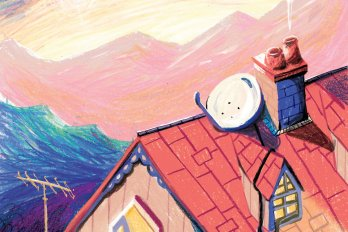 An illustration of a house and satellite dish, surrounded by mountains.