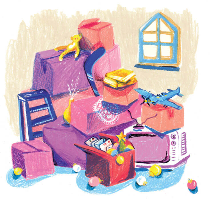 An illustration of a pile of boxes and attic junk.