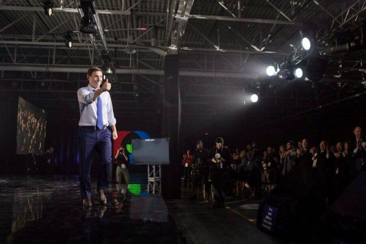 Patrick Brown, then the Ontario Progressive Conservative leader, gestures to supporters as he addresses the party's convention in Toronto on November 25, 2017