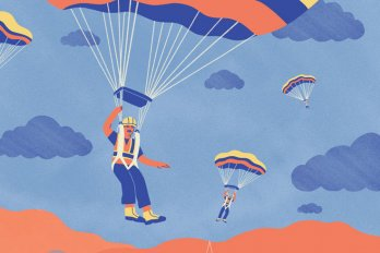 An illustration of men in construction gear and hard hats parachuting into a city.