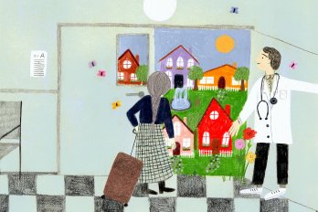 Illustration of a doctor opening the door of a hospital so an elderly woman, pulling a suitcase, can walk outside. Beyond the door is a brightly-coloured village.