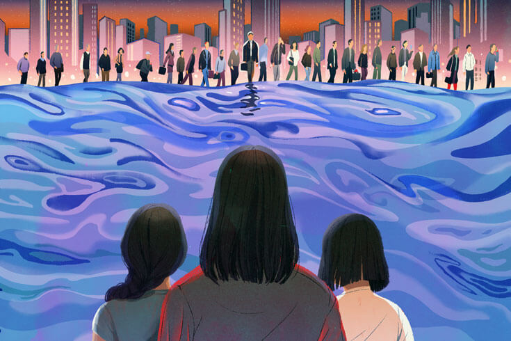 Three women stare across a sea at a group of businesspeople in front of a cityscape on the opposite shoreline