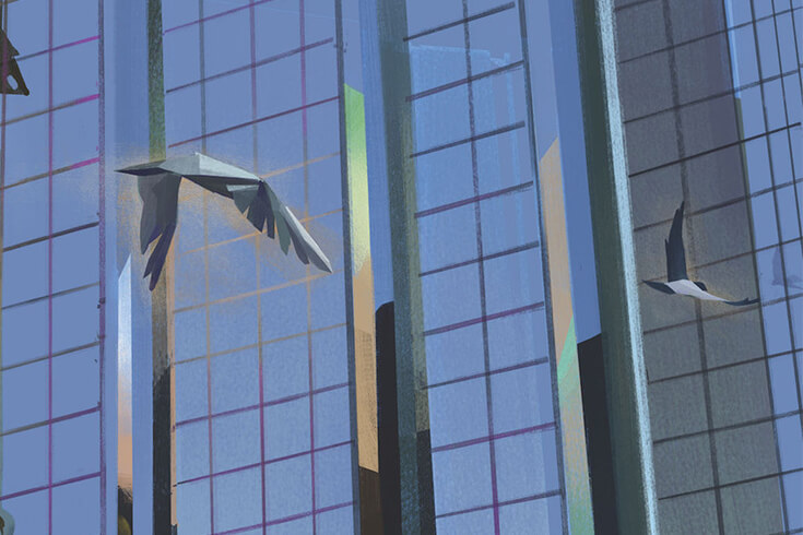 Illustration of glass buildings with three birds flying by.