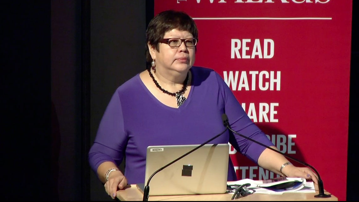 Video still of Judith Sayers from The Walrus Talks Energy