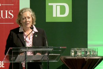 Video still of Karen Clarke-Whistler from The Walrus Talks Sustainability