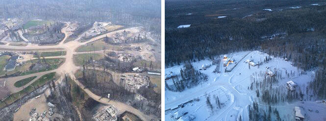 The Frigons' neighbourhood after and before the fire.