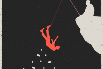 A silhouette illustration of a man dangling from a cliff, papers falling out of his pockets, as he hangs from the end of a fishing line held by another man who sits on the cliff's edge.