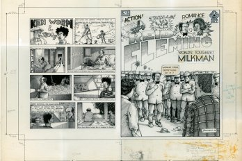 "A black and white comics panel titled ""World's Toughest Milkman."" The cover features a crowd of men standing around two people prepared to fight."