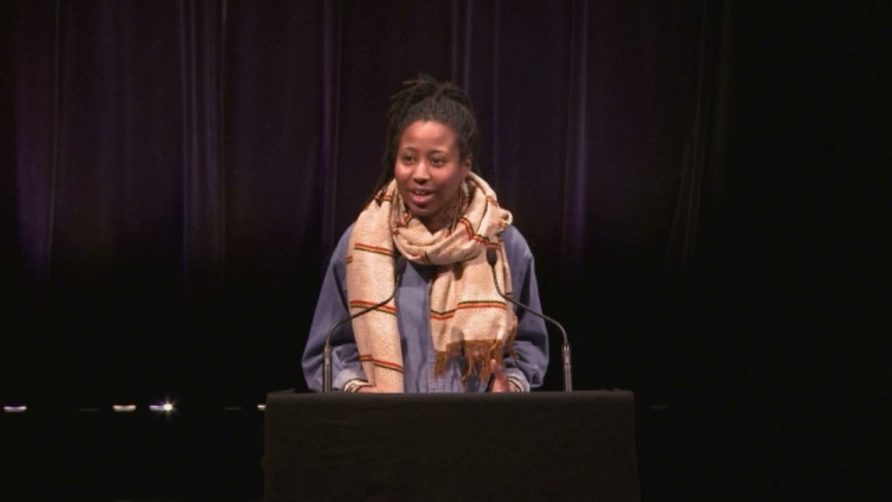 Video still of Nantali Indongo from The Walrus Talks The Art of Cultural Diversity