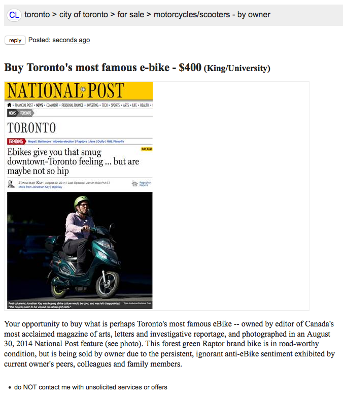 Screen capture of Craigslist ad to sell an ebike