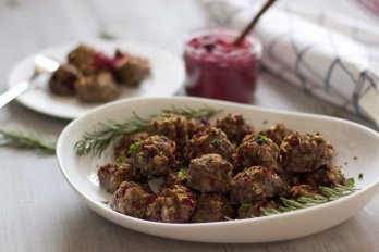 A plate of bison meatballs