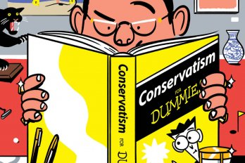 an illustration of a man reading a book that says Conservatism for Dummies