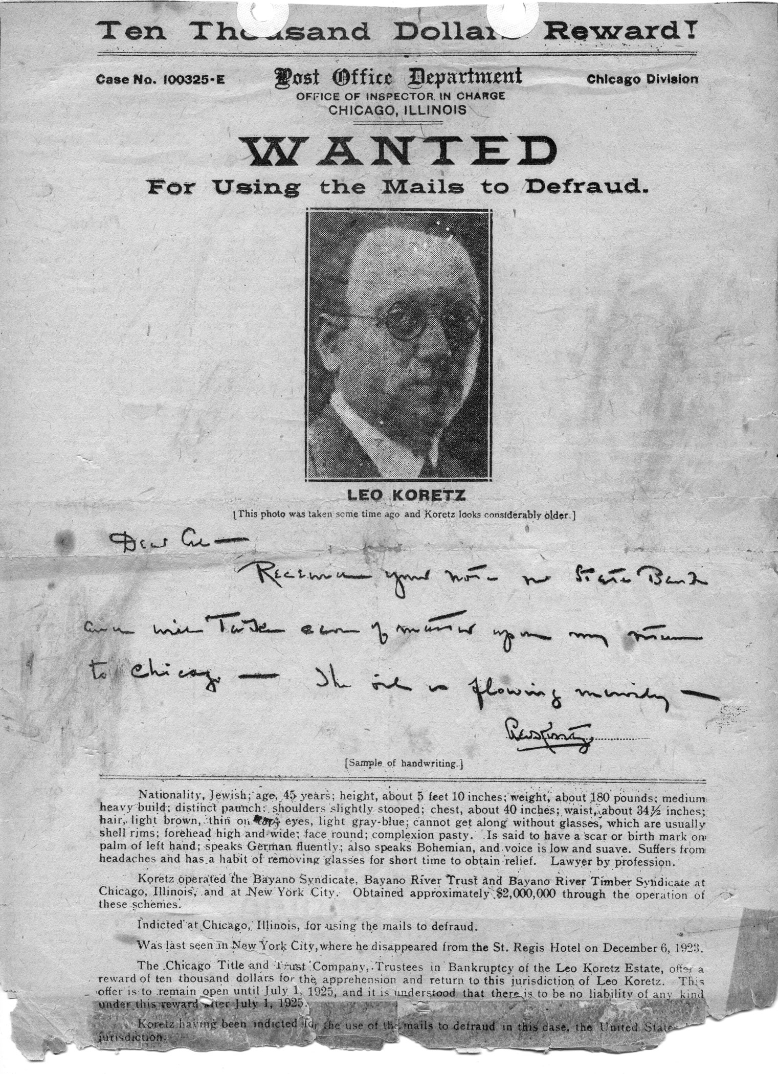Scan of wanted poster/Dalhousie University Archives
