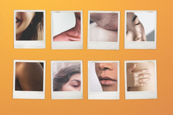 set of polaroid photographs depicting nude people