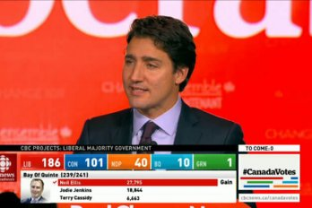 Screenshot of Justin Trudeau on CBC News