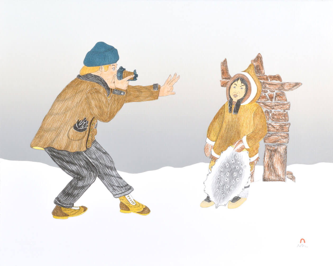 Kananginak Pootoogook (1935-2010 Kinngait) The First Tourist 1992 Lithograph 57 x 71 cm All images © Dorset Fine Arts.