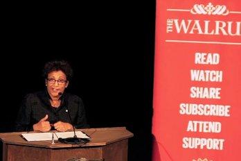 Video still of Indira Samarasekera from The Walrus Talks Experimentation