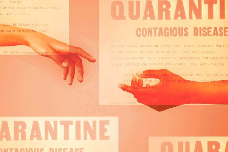 "Illustration of two hands reaching for one another across the frame and unable to touch. Behind the hands are blocks containing text that says ""Quarantine: Contagious Disease"" in all capital letters."