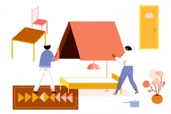 An illustration of two people holding a roof over a bed, surrounded by elements of an apartment (table and a chair, a door, flowers, and a rug).