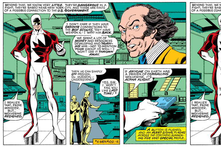 A comic book panel depicting a conversation between the prime minister and a superhero, in a room full of technological equipment