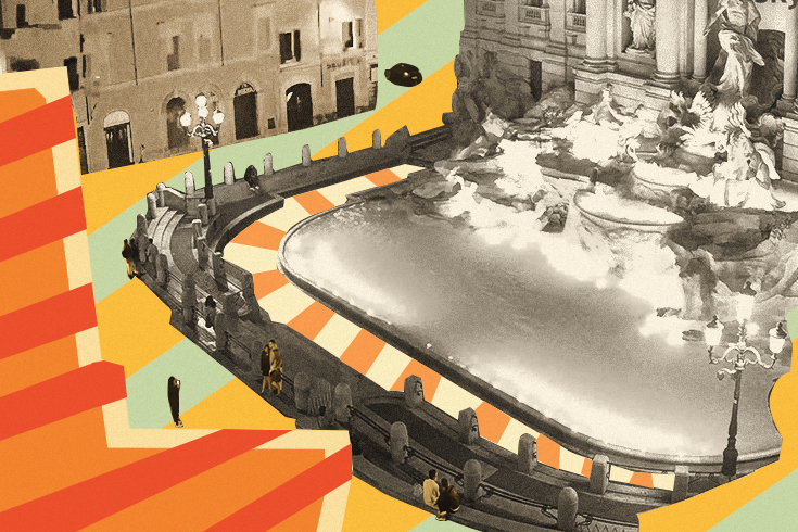 A black and white photo of Trevi Fountain, in Rome, stylized with stripes of yellow, orange, red and green surrounding it.