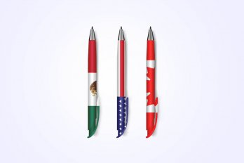 Pens with the flags of Canada, United States and Mexico on them