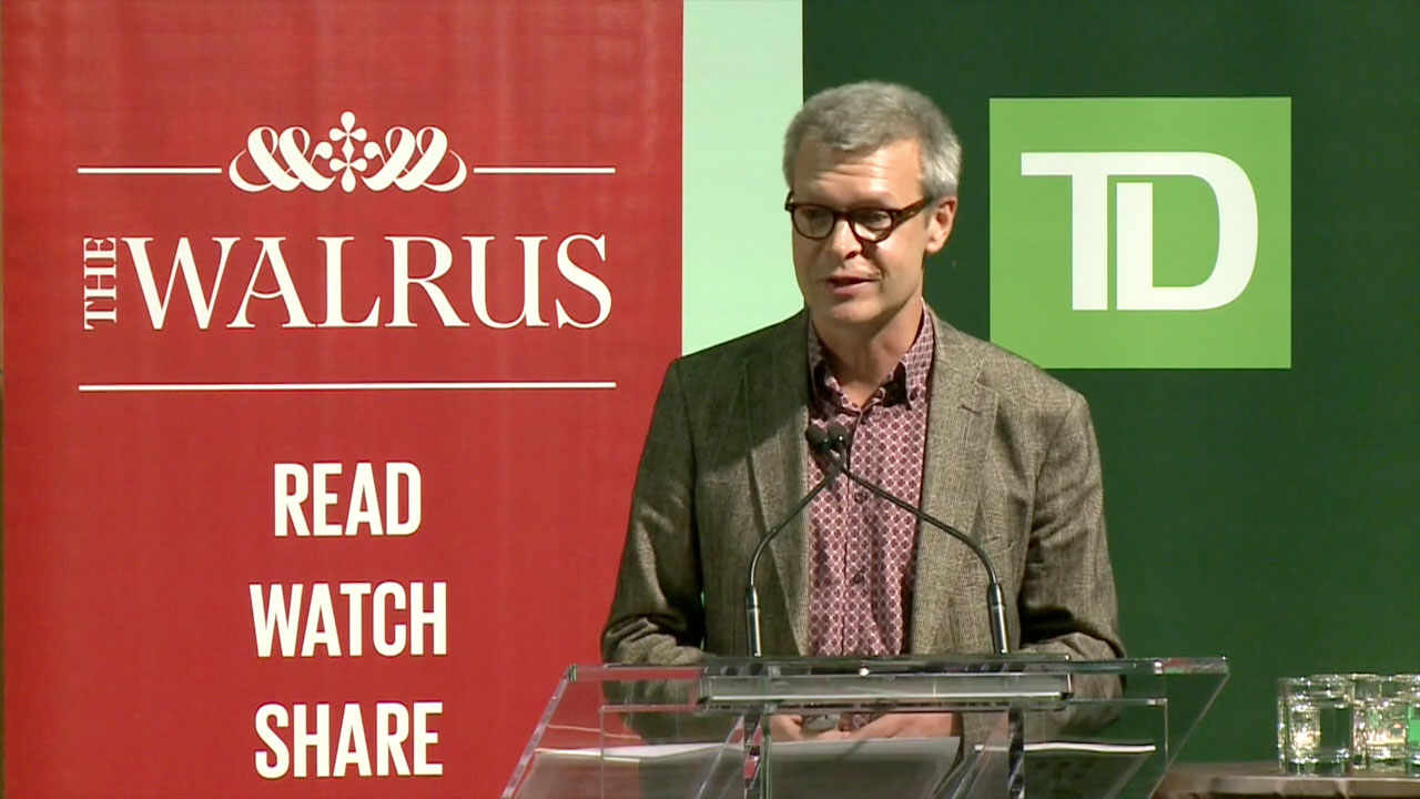 Video still of Dave Harvey from The Walrus Talks Sustainability