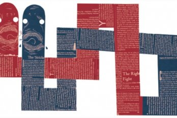 two lines of paper, one red one blue, intertwined