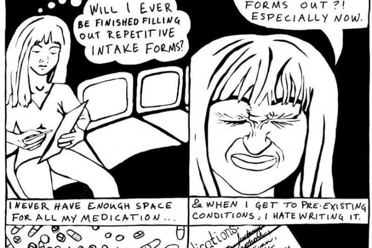Illustration of a comic by Teva Harrison