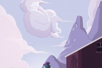 Illustration of a person standing on the roof of a shed with their back to the viewer. In the distance are purple mountains and a lilac sky, in which a cloud in the shape of a curled-up person drifts past.
