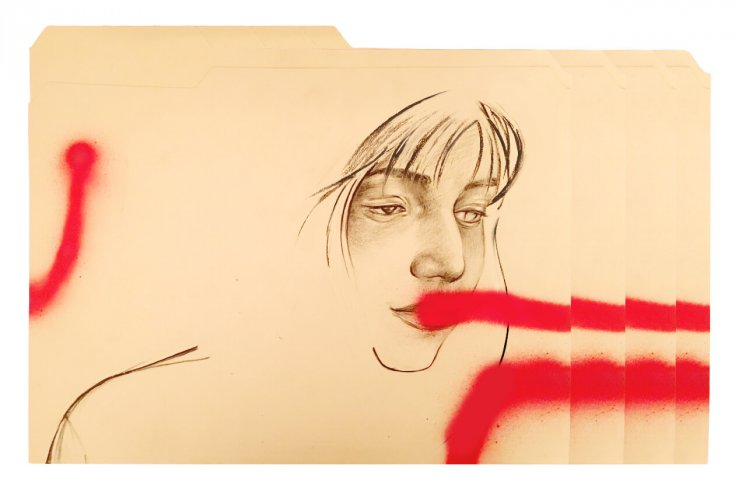 Melancholic woman on a manila envelope with streaks of red