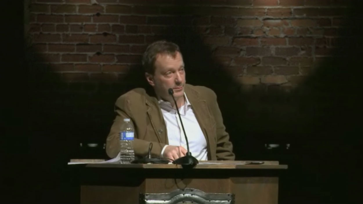 Video still of Noah Richler from The Walrus Talks The Art of the City