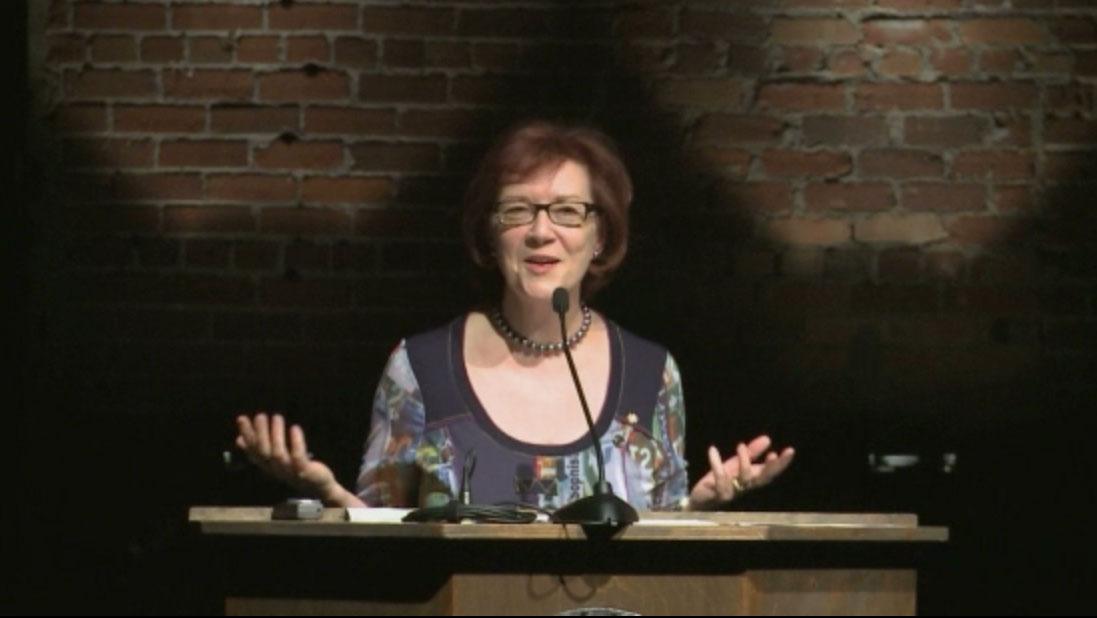 Video still of Aritha van Herk from The Walrus Talks the Art of the City