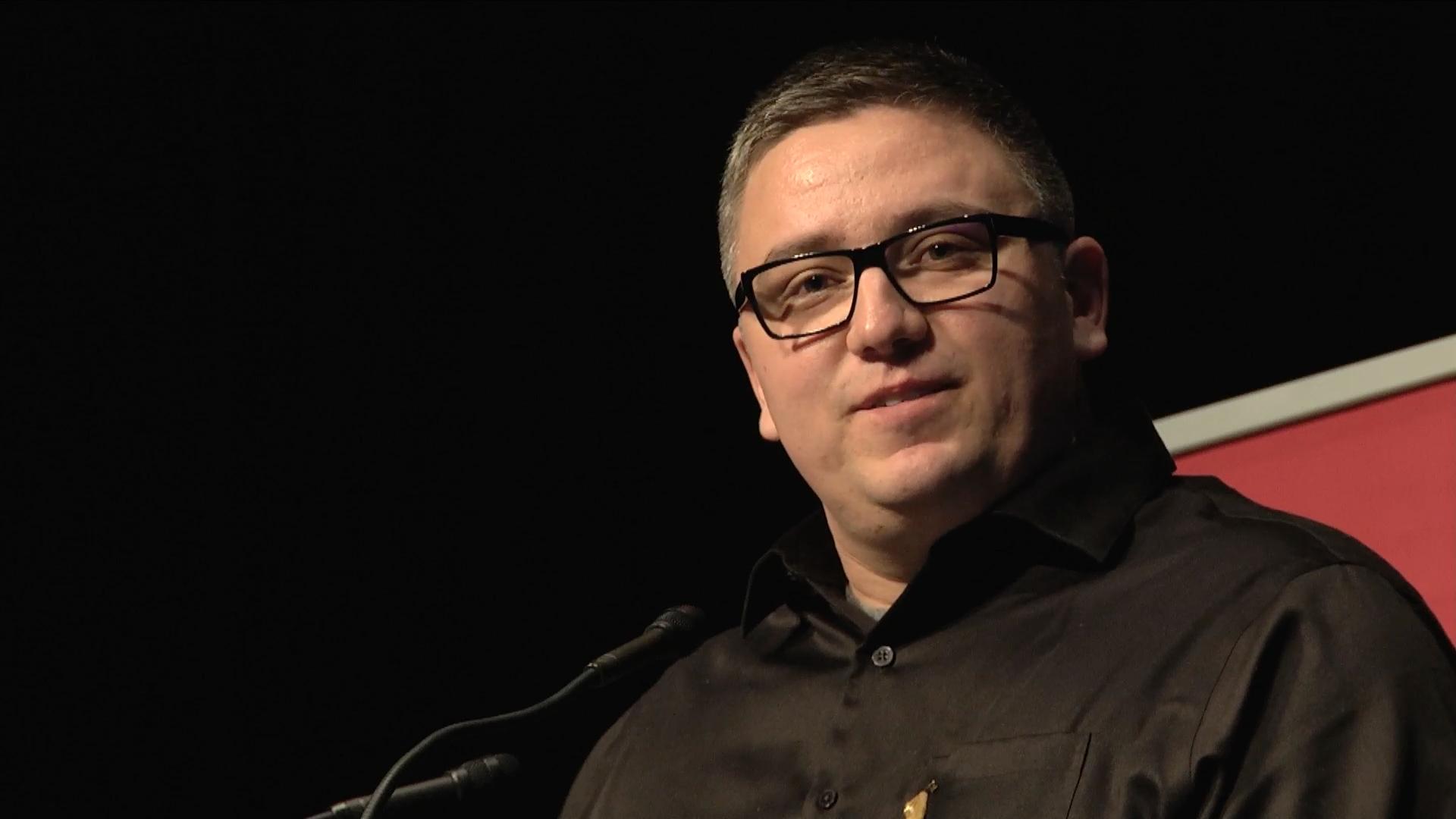 Video still of Ryan McMahon at The Walrus Talks Aboriginal City