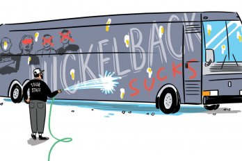 Nickelback tour bus pelted with eggs and spraypainted