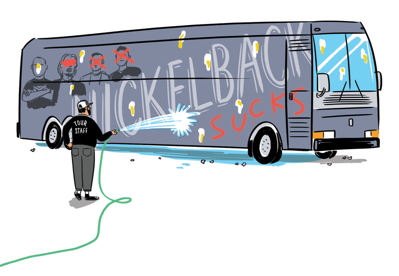Illustration of Nickelback's tour bus by Kyle Metcalf