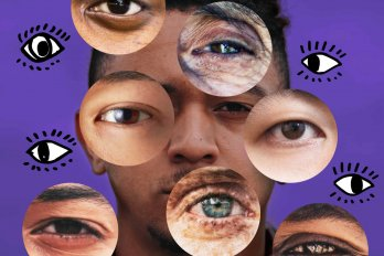 portrait superimposed by several eyes