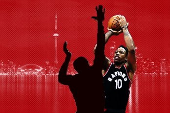 Image of Demar Derozan in front of the CN Tower