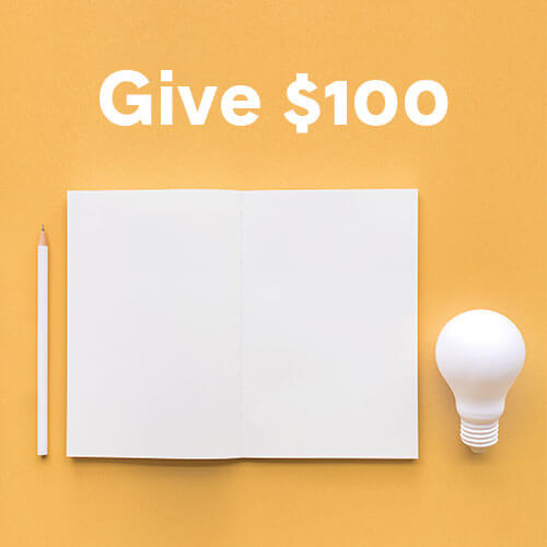A pencil, a sheet of paper and a light bulb, all on a yellow background.
