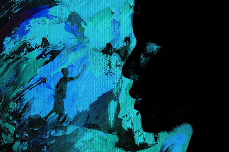 A silhouette in profile, against a paint-smeared turquoise and blue background, in which a distant silhouetted body gestures at the sky.